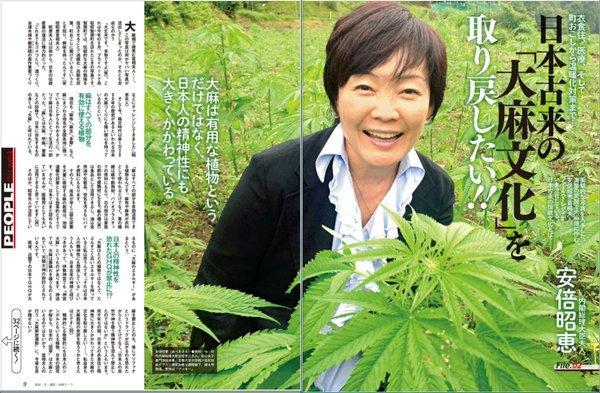 安倍昭恵 (あべあきえ)さんと大麻 (たいま)