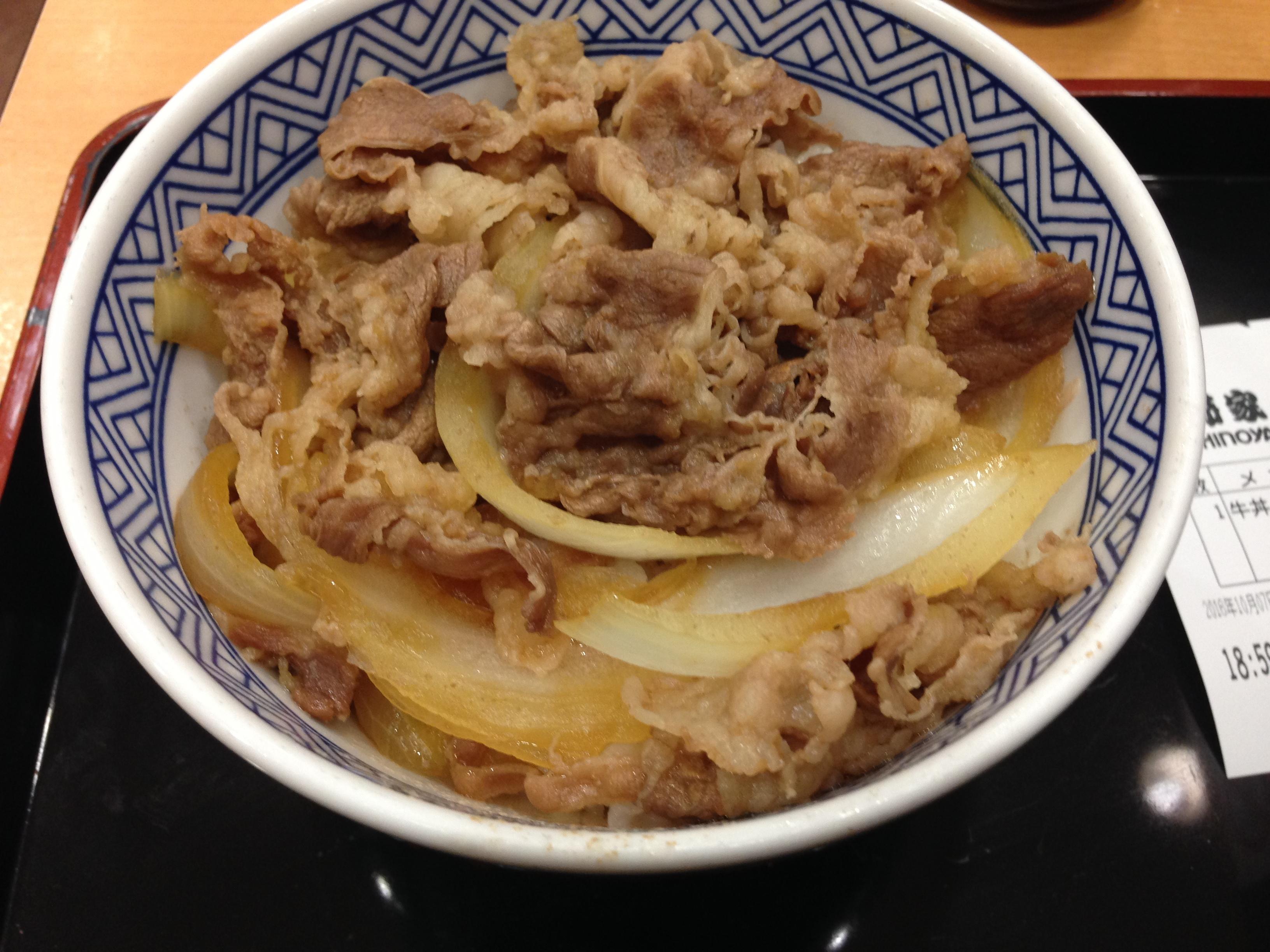 牛丼並盛 (ズームイン画像)