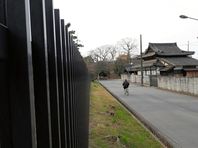 移転を迫られている朝日寺。左側が仁徳陵古墳、奥が狐山古墳=堺市堺区