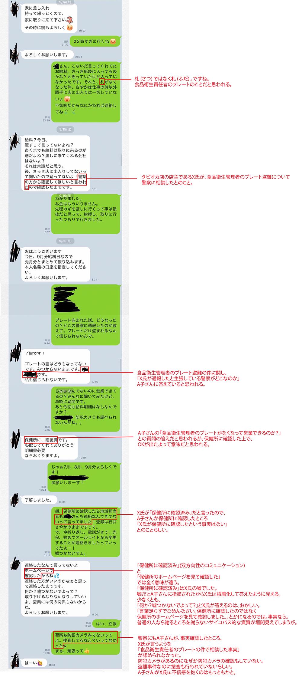 X氏とA子さんのLINEのやりとりの画像まとめ